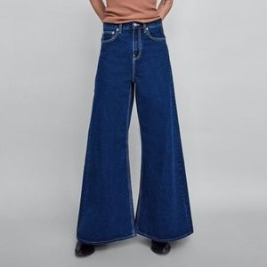Zara Jeans Wide Leg Contrast Stitching